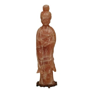Asian Chinese Rose Quartz Standing Slender Figure of a Lady For Sale