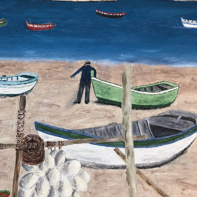 Folk Art Mid Century Naive Boating Beach Scene. Painting For Sale - Image 3 of 8
