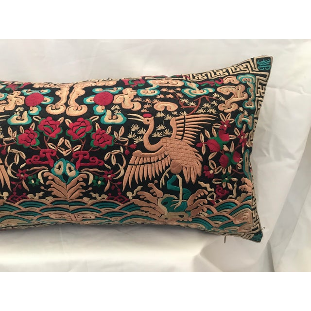 Asian Hollywood Regency Black & Gold Silk Embroidered Chinoiserie Boudoir Lumbar Pillow For Sale - Image 3 of 9