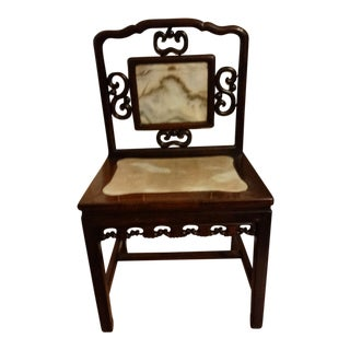 Chinese 19th Century Rosewood & Marble Chair