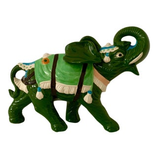 1974 Vintage Large Green Ceramic Elephant Sculpture For Sale