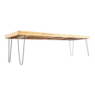 Large Rectangular Vintage Solid Birch-Top With Hairpin Leg Coffee Table For Sale