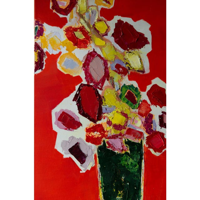 """Bill Tansey """"Tall Green Vase"""" Abstract Floral Oil Painting on Canvas For Sale In New York - Image 6 of 7"""