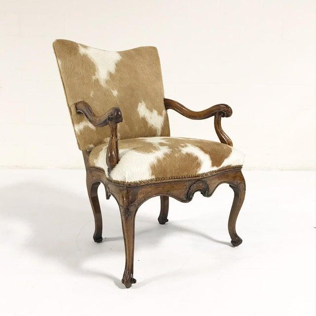 1770s Antique Italian Walnut Armchair Restored in Brazilian Cowhide - Image 2 of 10