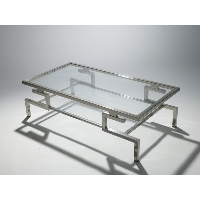 Hollywood Regency Nickel Coffee Table Guy Lefevre for Maison Jansen, 1970s For Sale - Image 6 of 9