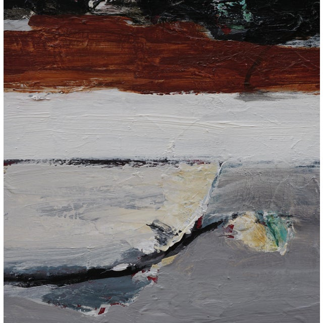 """Laurie MacMillan Laurie MacMillan """"Tarry Tarry Night"""" Abstract Landscape Painting For Sale - Image 4 of 5"""