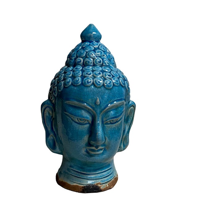 Early 20th Century Blue Glazed Buddha Head For Sale - Image 11 of 12