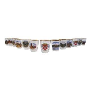 1970s Vintage German Scenic Shot Glasses- Set of 13 For Sale