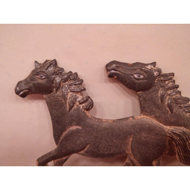 Running Ponies Cast Iron Wall Rack For Sale - Image 4 of 10