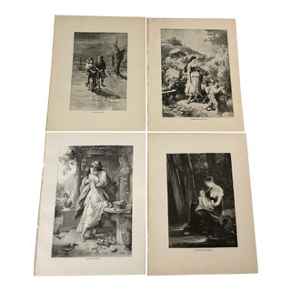 1892 Antique Characters From Goethe's Works Prints - Set of 4 For Sale