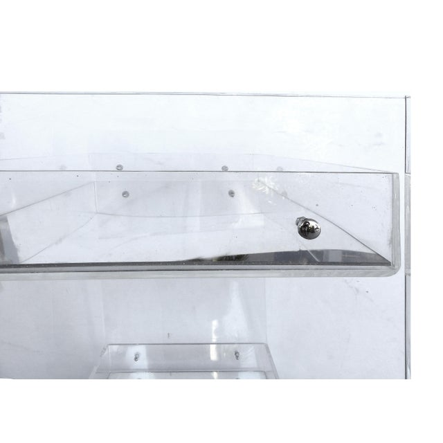 Bi-Level Rolling Lucite Bar Cart with Mirrored Serving Surfaces For Sale - Image 4 of 7