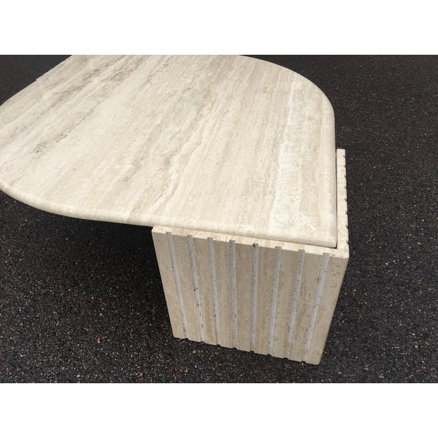 Marble 1980's Brutalist Travertine Marble Coffee Table For Sale - Image 7 of 12