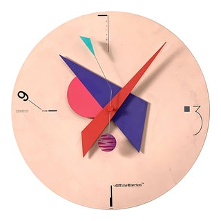 1980's Vintage Nicolai Canetti Art Time Wall Clock For Sale