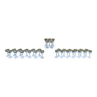 Italian Crystal 24-Karat Gold-Rim Stemware: 14 Champagne Coupe & 14 Wine Glasses - Set of 28 For Sale