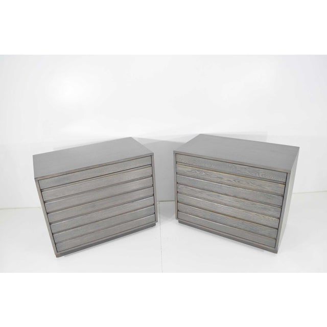 1970s 1970s Mid Century Grey Stained Chests - a Pair For Sale - Image 5 of 10