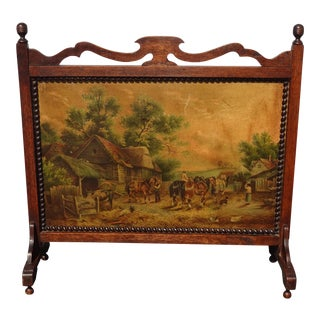 Vintage French Country Hand Painted Country Setting Fireplace Screen ~ Picture For Sale