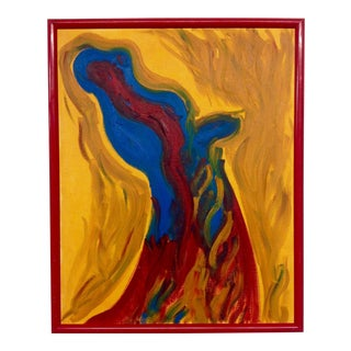 Vintage Fiery Abstract Oil on Canvas For Sale