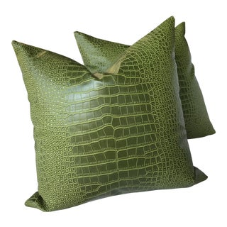 "Fabricut ""Aluminum"" in Crocodile Faux Croc 21"" Down Filled Pillows - a Pair For Sale"