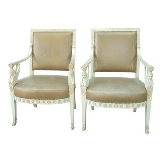 Early 20th Century Antique Egyptian Revival Armchairs - a Pair For Sale