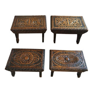 Set 4 Antique English Carved Tiger Oak Footstool Stool Stand Dated 1905 Child For Sale
