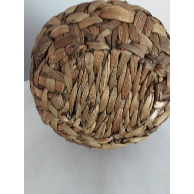 Mid 20th Century 20th Century Boho Chic Hand Woven Banana Leaf Basket/Vase For Sale - Image 5 of 6