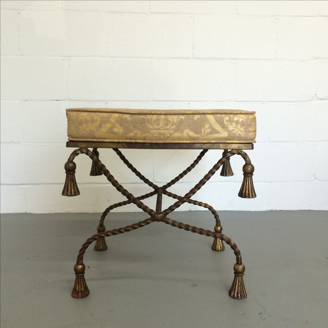 Vintage Gilt Metal Rope Bench - Image 4 of 6