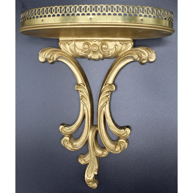 Italian Florentine Golden Gilt Wooden Wall Shelf With Gallery (Available Pair) For Sale - Image 12 of 13