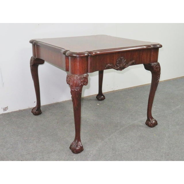 Brown Henkel Harris Mahogany Chippendale Carved Side Table For Sale - Image 8 of 8