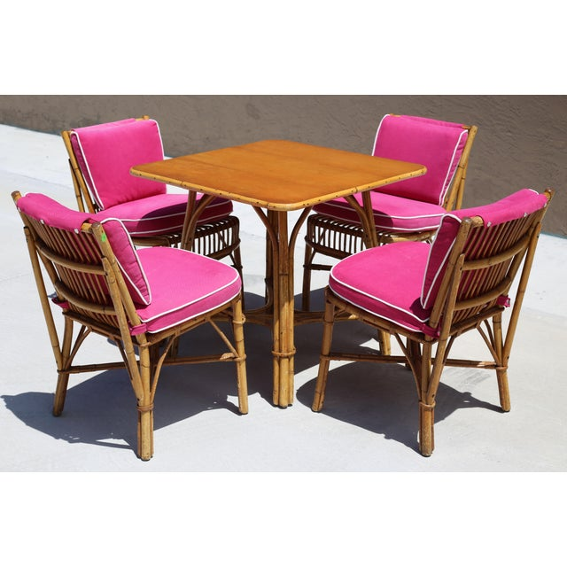 Vintage Ficks Reed Rattan Dining Table With 4 Chairs - Set of 5 For Sale - Image 9 of 9