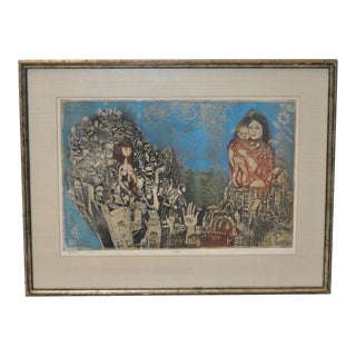 Abraham Yakin Mid-Century Modern Etching with Aquatint C.1960s For Sale