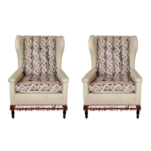 Bohemian Wingback Pair Chairs Early 20th Century For Sale - Image 11 of 11