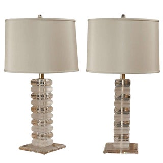 Georgeous Pair of Stacked Lucite Lamps in the Style of Karl Springer For Sale