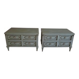 Custom Made French Provincial Nightstands - a Pair W Crystal Hardware For Sale