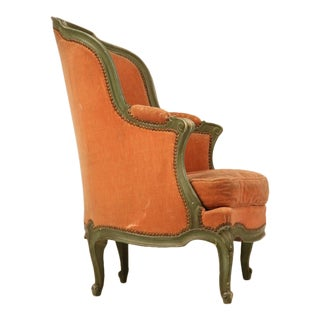 Antique French Louis XV 'Pumpkin' Bergere w/Barrel Back & Mohair For Sale