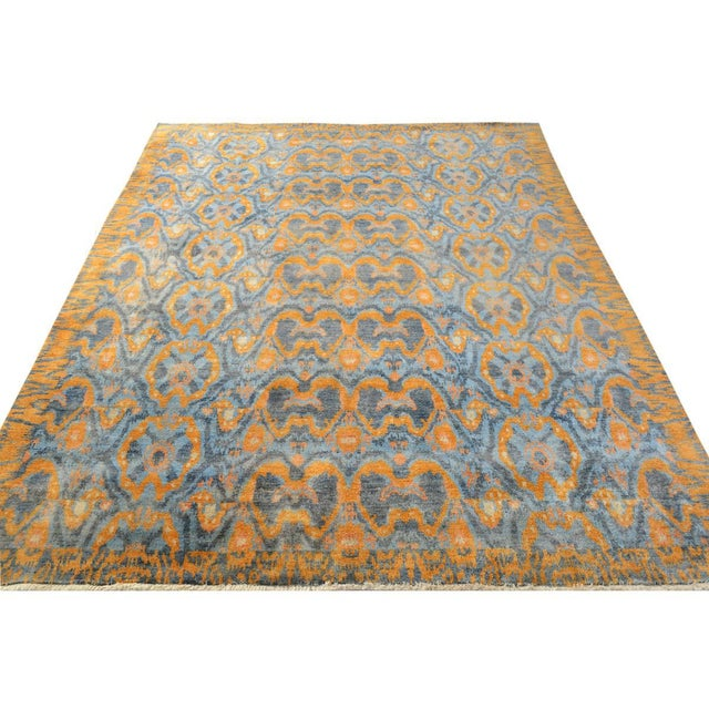 "Textile Kafkaz Peshawar Rolando Light Blue/Gray Wool Rug - 7'6"" X 9'5"" For Sale - Image 7 of 8"