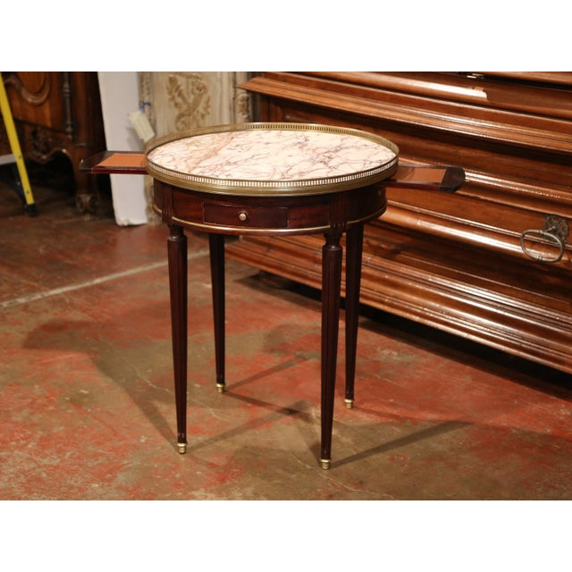 Early 20th Century French Louis XVI Round Bouillotte Table with Marble Top - Image 6 of 10