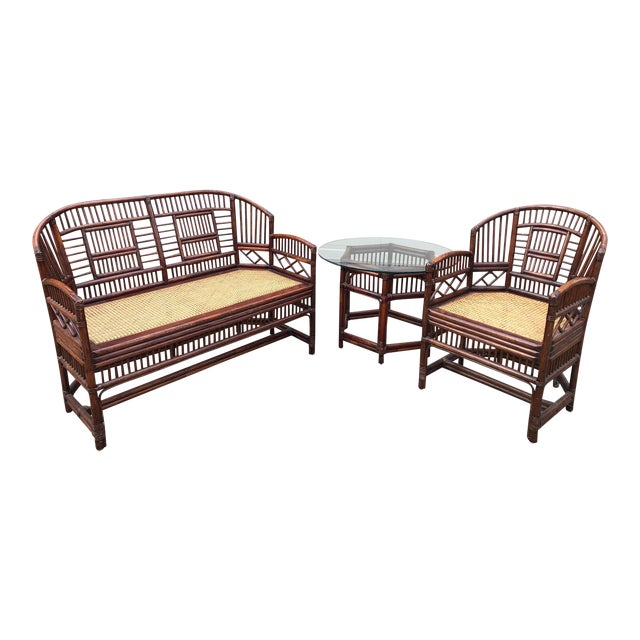 Vintage Brighton Bamboo Wicker Furniture Sofa - Set of 3 For Sale