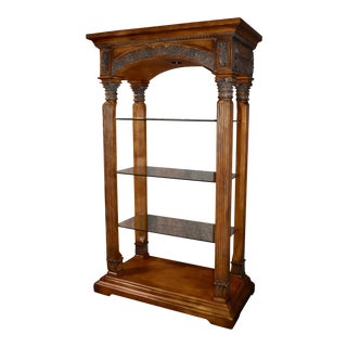 Tuscan Style Carved Wood Etagere For Sale