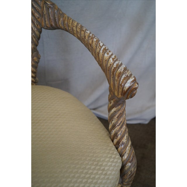 Hollywood Regency Gilt Painted Rope Turned Chair - Image 7 of 10