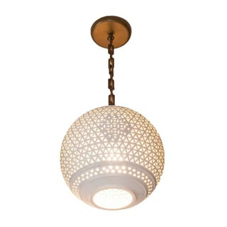Round Vintage Pendant with Ceramic Fretwork
