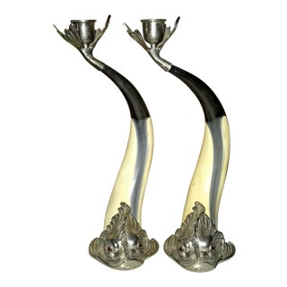 Vintage New Rare Hauy Pouigo 70's Fish Brass Candlesticks - a Pair For Sale