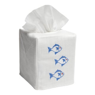 Blue School of Fish Tissue Box Cover in White Linen & Cotton, Embroidered For Sale