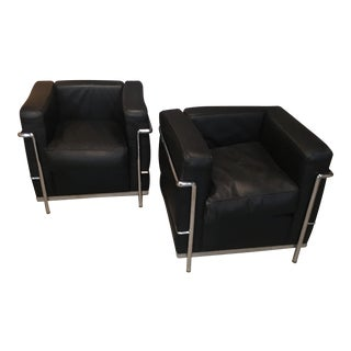 Petit Corbusier Style Black Leather Chairs - A Pair