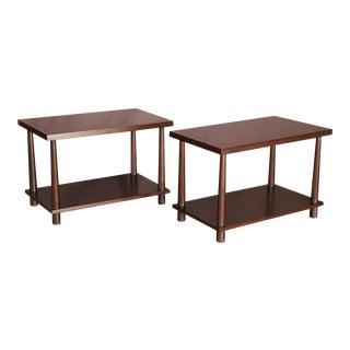 Pair of Mid Century Modern T.H.Robsjohn-Gibbings Reverse Tapper Side Tables for Widdicomb.