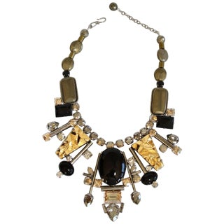 Philippe Ferrandis Pyrite, Glass, and Swarovski Crystal Necklace For Sale