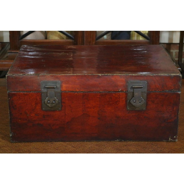 Red Chinese Leather Trunk For Sale - Image 8 of 8