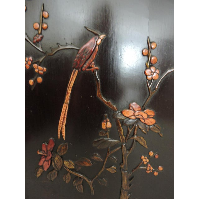 Gemstone Antique Chinese Four Panel Room Divider or Screen of the Four Seasons With Calligraphy For Sale - Image 7 of 11