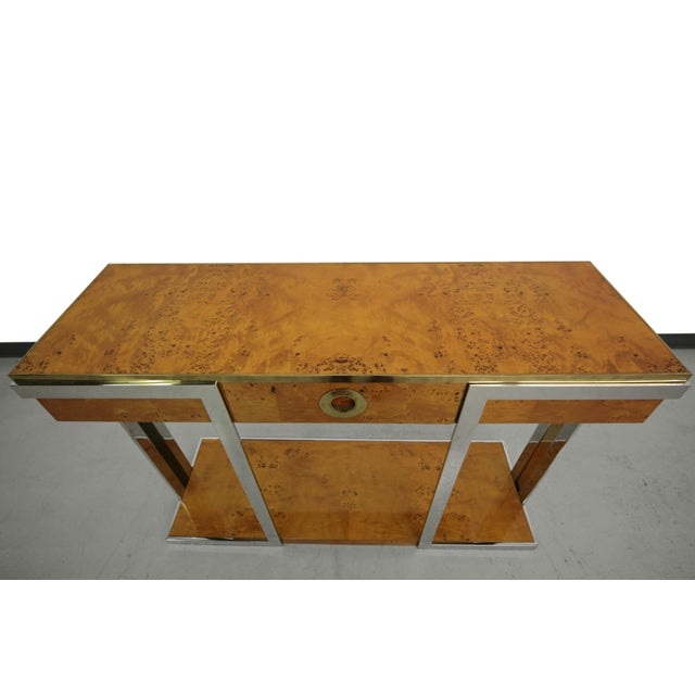 Willy Rizzo Mid-Century Italian Burl Wood Console - Image 4 of 8
