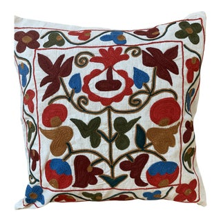 Turkish Suzani Pillow Cover - 17ʺW × 17ʺH For Sale
