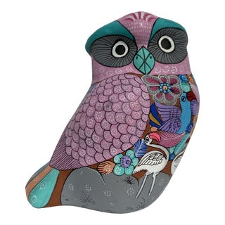 Vintage Hand-Painted Terracotta Owl Figurine For Sale